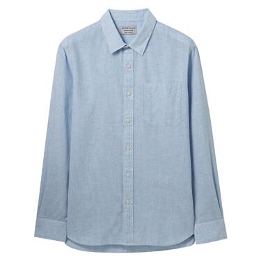 天然麻棉單標袋長袖襯衫