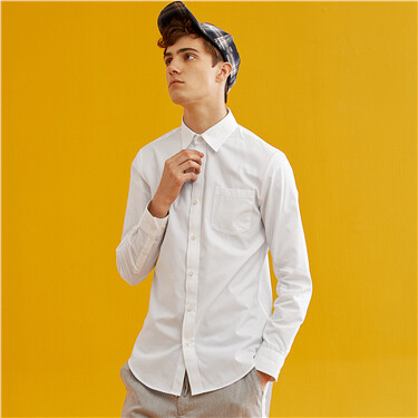 Single pocket long-sleeve slim shirt