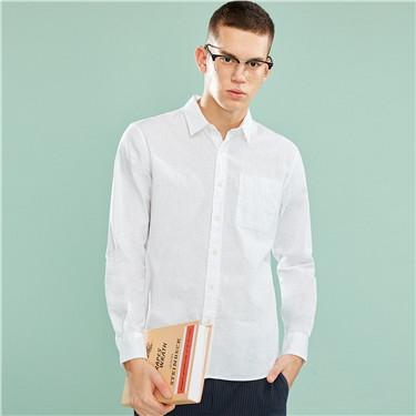 男裝棉麻長袖襯衫