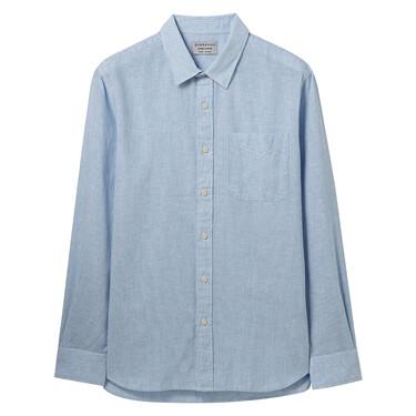 Linen-cotton long sleeves shir