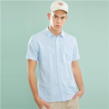 Linen-cotton single pocket shirt