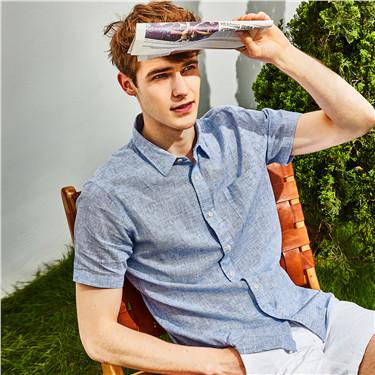天然麻棉单标袋短袖衬衫