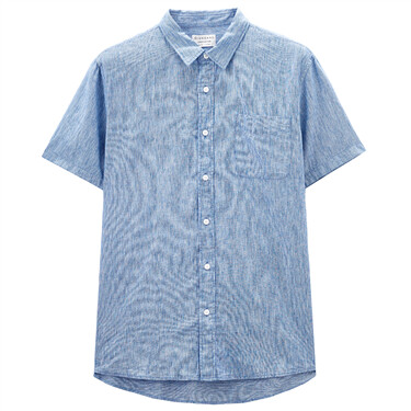 Linen-Cotton Single Pocket Shirt