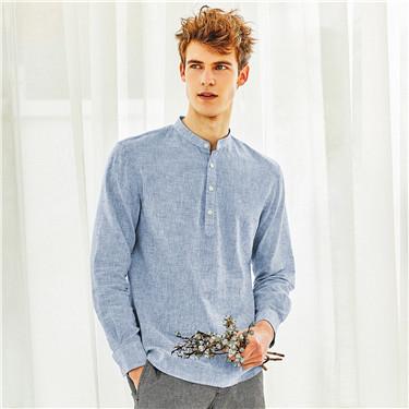 天然麻棉立領半開胸長袖襯衫