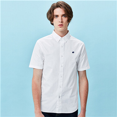 男裝刺繡牛津紡修身短袖恤衫