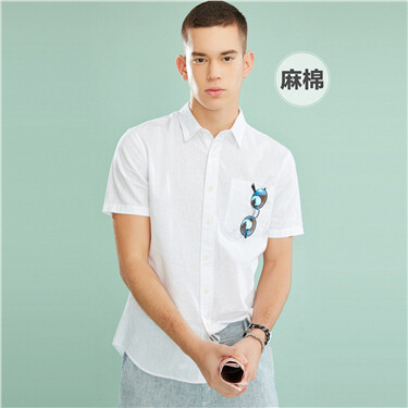 Linen-Cotton Single Pocket Shirts