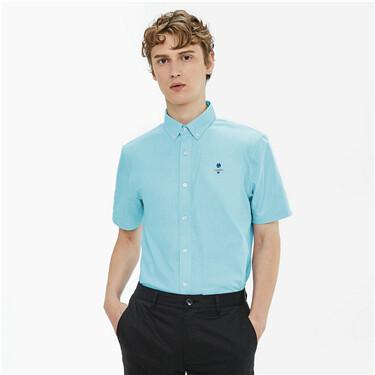 刺绣牛津纺修身短袖衬衫