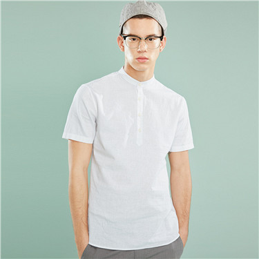 Linen-cotton henry-neck shirt