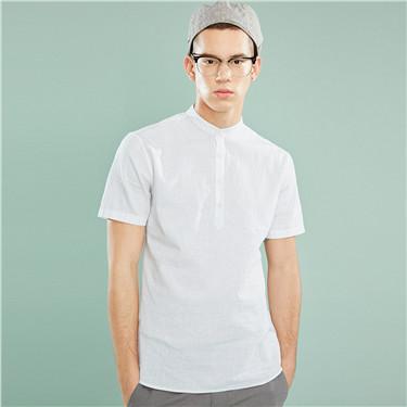 天然麻棉亨利领短袖衬衫