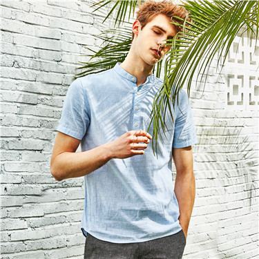 Linen henley neck shirt