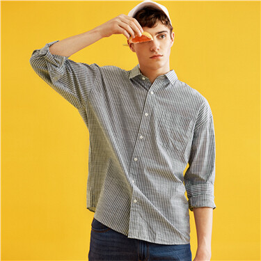 Long-sleeve cotton pocket shirt