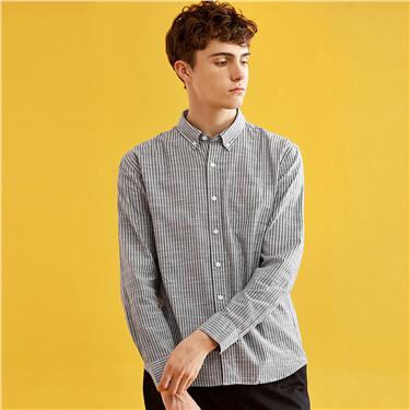 Single pocket cotton slim shirt