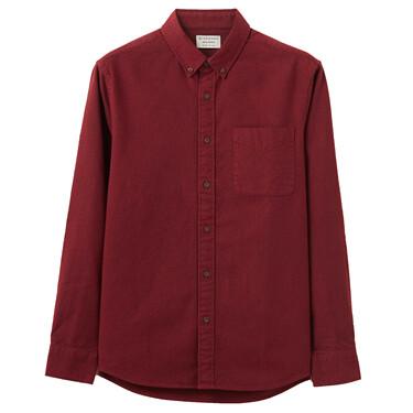 男裝法蘭絨溫暖磨毛長袖襯衫