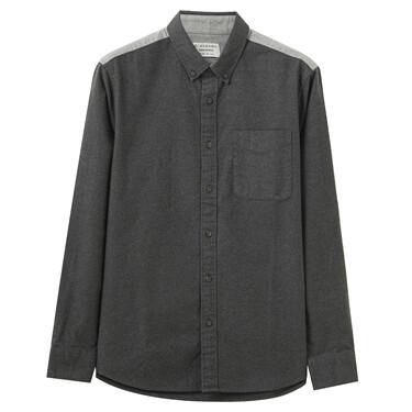 男裝法蘭絨溫暖磨毛口袋長袖恤衫