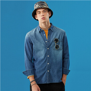 Single pocket slim fit denim shirt