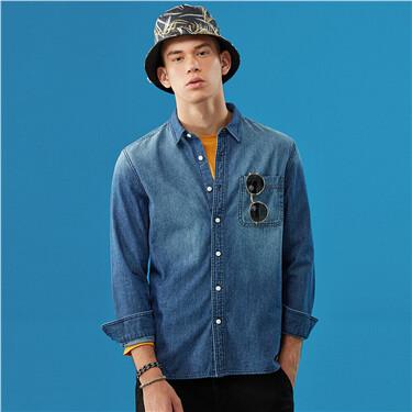 Single pocket slim fit denim shirt