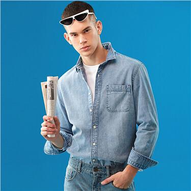 单贴袋修身牛仔长袖衬衫