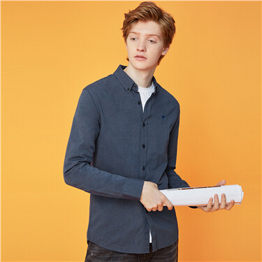 Embroidery slim long-sleeve oxford shirt