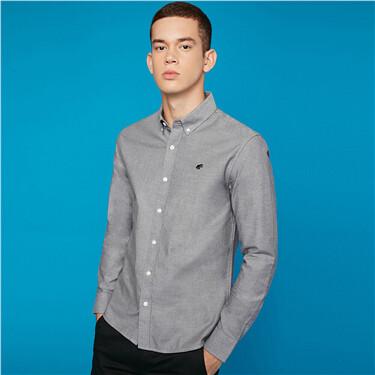 青蛙刺绣纯棉牛津纺修身长袖衬衫