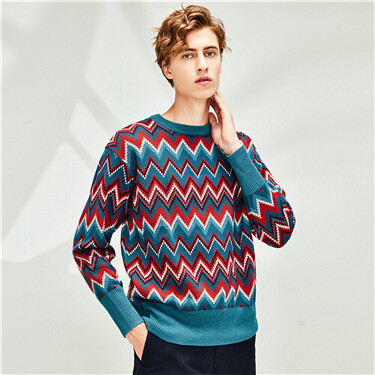 Thick colourful contrast crewneck sweater