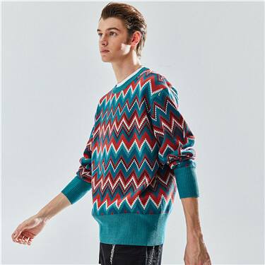 Color crewneck cable knitting sweater
