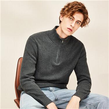 Zippered half placket mockneck sweater