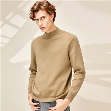 Combed cotton mockneck sweater