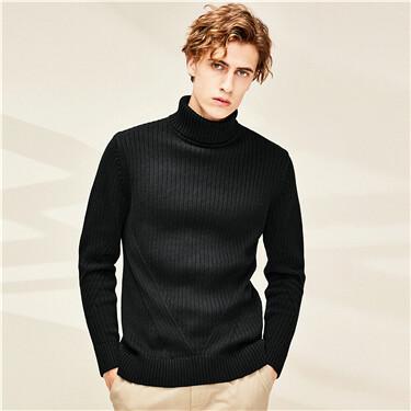 Thick cotton plain turtleneck sweater