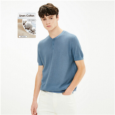 Linen-cotton henley-neck knitted tee