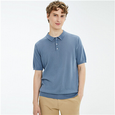 Linen-cotton Knitted Polo Shirt