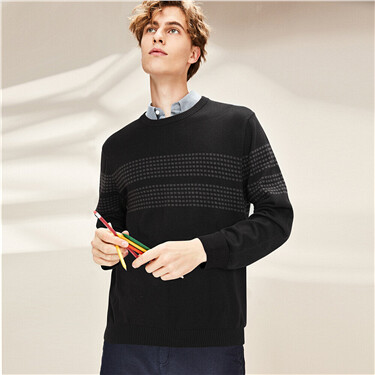 Combed cotton stripe crew sweater
