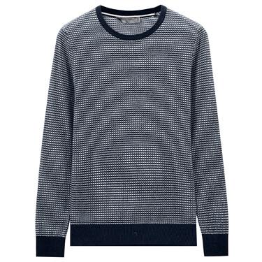 Geometric jacquard crewneck pullover sweater