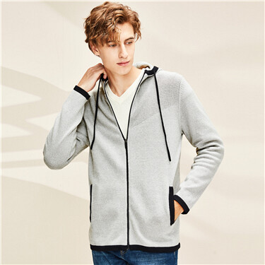 Contrast hooded with drawstring knitted jacket