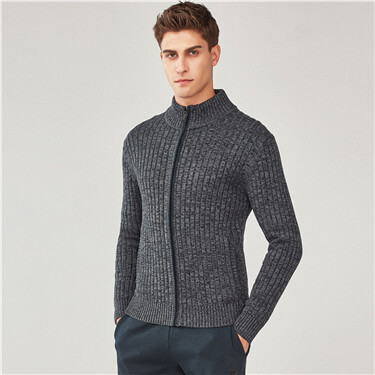 Jacquard half-turtleneck sweater