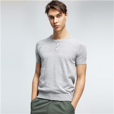 Linen-cotton henley tee