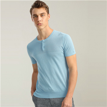 Linen-cotton henley neck short-sleeve tee