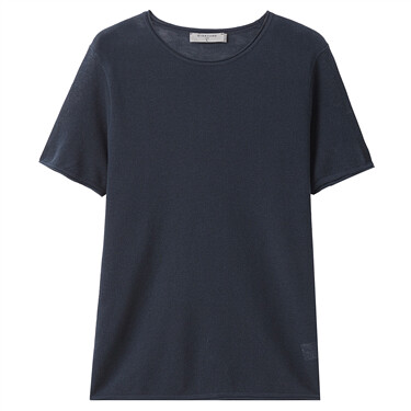 Linen-cotton knitted tee