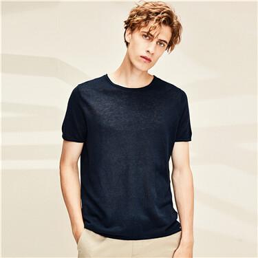天然麻棉圆领针织短袖T恤