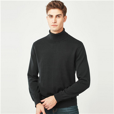 Combed cotton solid turtle neck sweater