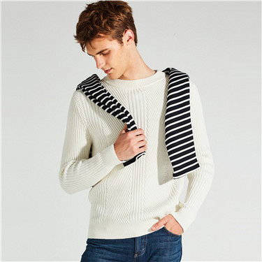Thick jacquard pullover sweater