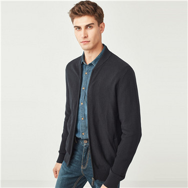 Combed cotton stand collar cardigan