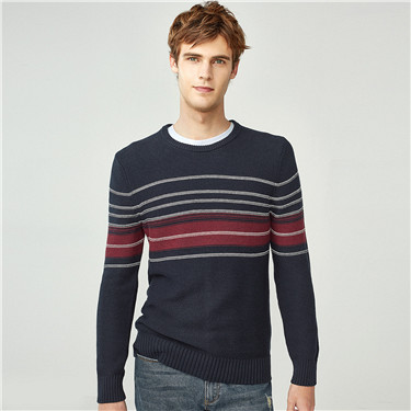 Thick contrast stripe pullover sweater