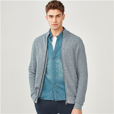 Combed cotton mockneck cardigan