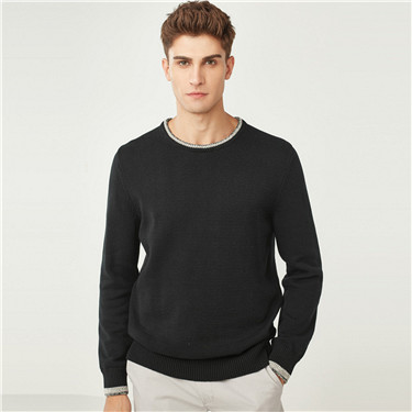Thick contrast color pullover sweater
