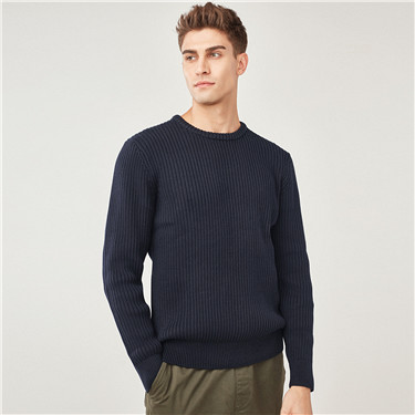 Thick jacquard crewneck sweater
