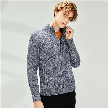 Thick mockneck zip front knitted jacket