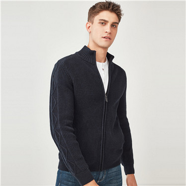 Thick cable-knit mockneck cardigan