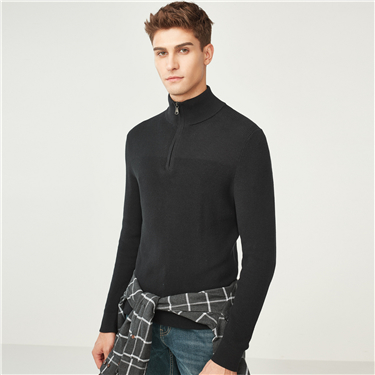 Combed cotton jacquard mockneck sweater