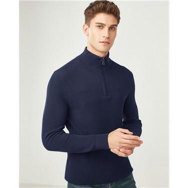 Combed cotton jacquard mockneck sweater