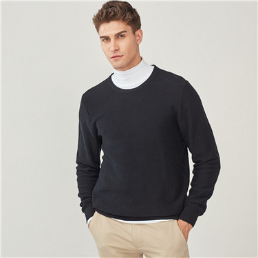 Combed cotton crewneck pullover sweater